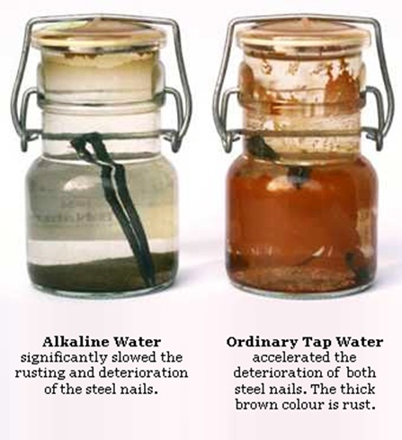 steel nail test that shows alkaline water slowing down the rusting